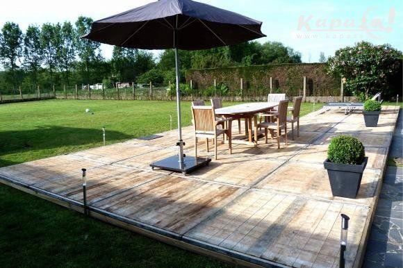 Steenschotten hout terras azobe planken recyclage waals brabant tuin pinterest - Terras hout ...