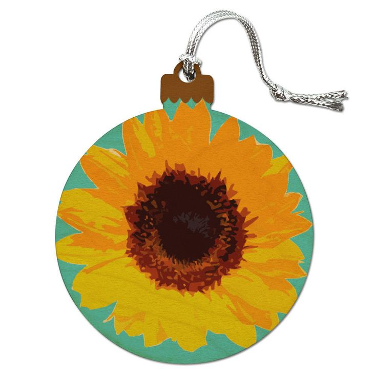 Sunflower Drawing On Blue Background Wood Christmas Tree Holiday Ornament