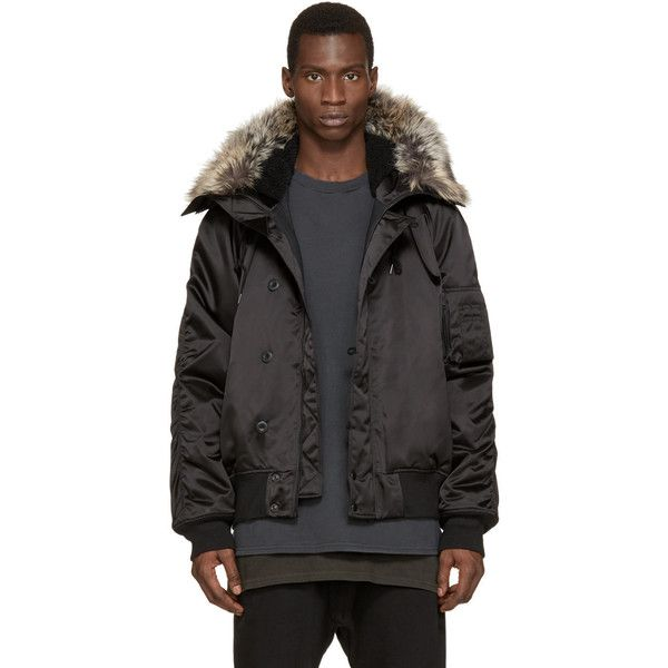 YEEZY Season 1 Black Faux-Fur Bomber Jacket ($2,780) ❤ liked on Polyvore featuring men's fashion, men's clothing, men's outerwear, men's jackets, mens hooded bomber jacket, mens utility jacket, mens hooded jacket, mens faux fur hooded jacket and mens zip up jacket