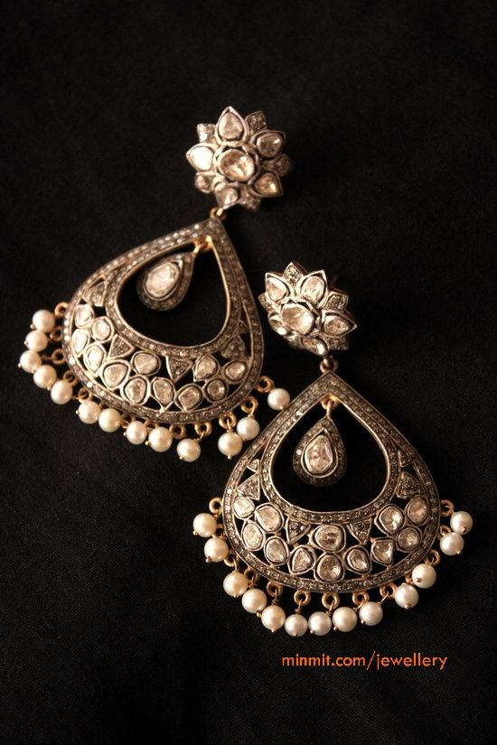 Chand Bali -Polki Diamonds and Pearls Earrings