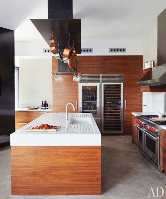 Clean kitchens allow for more creativity,  clarity and room for entertaining!  {Wolf Range & Sub-Zero wine chiller}