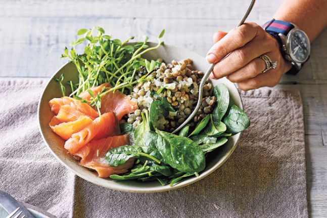 Lentils are a brilliant low-cost source of vegetarian protein. Use them to make this deliciously healthy salad.