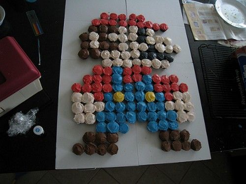 Mario made with cupcakes
