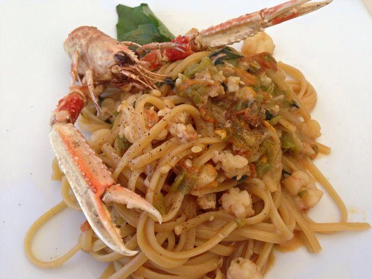 Spaghetti con Scampi e Zucchini