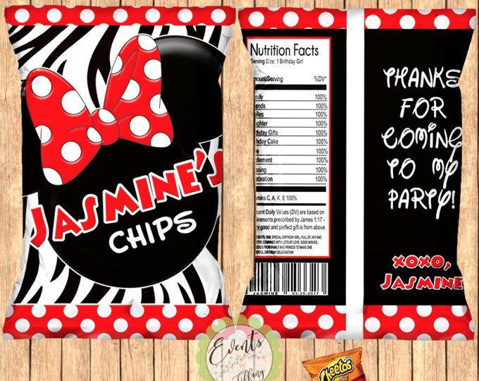 Minnie Mouse inspirado bolsas de viruta, Minnie Mouse inspirado Zebra Chip bolsas, Minnie Mouse inspirado Favor bolsas, impresión juego de 12