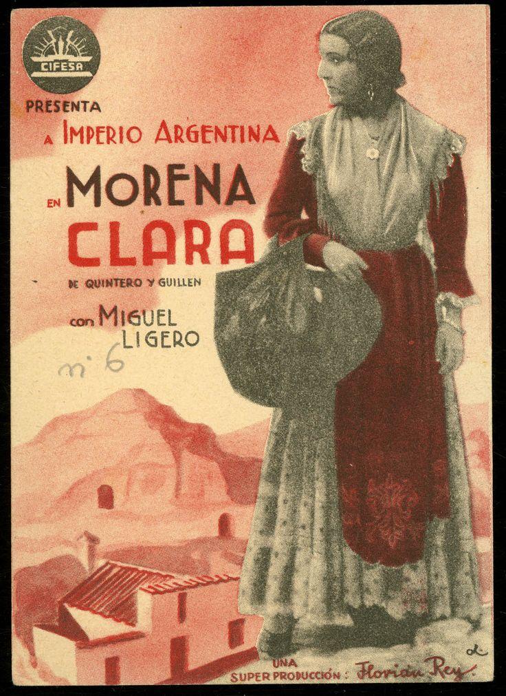 """Programa de mano de cine de la película """"Morena clara"""", estrenada en España en el año 1935"""