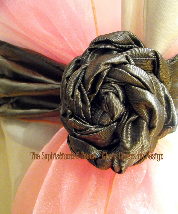 Silver Satin Rose On a Baby Pink Organza Shawl on White Chair Cover The Sophisticated Touch ...Chair Covers by Design
