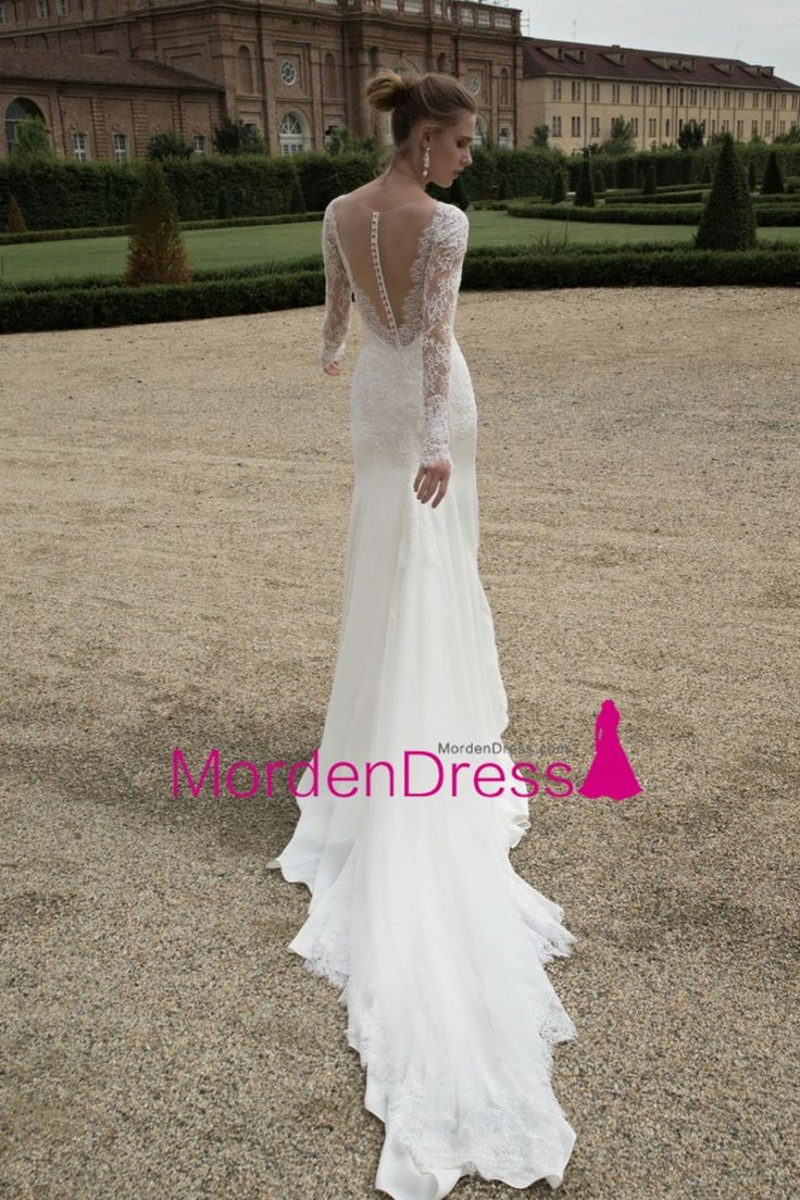 2016 V Neck Wedding Dresses Spandex With Applique Court Train