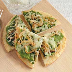 Spinach Flatbread Recipe....Variation: Top with spinach and artichoke hearts, diced tomatoes, garlic, fresh basil, with a hint of crushed red pepper and oregeno