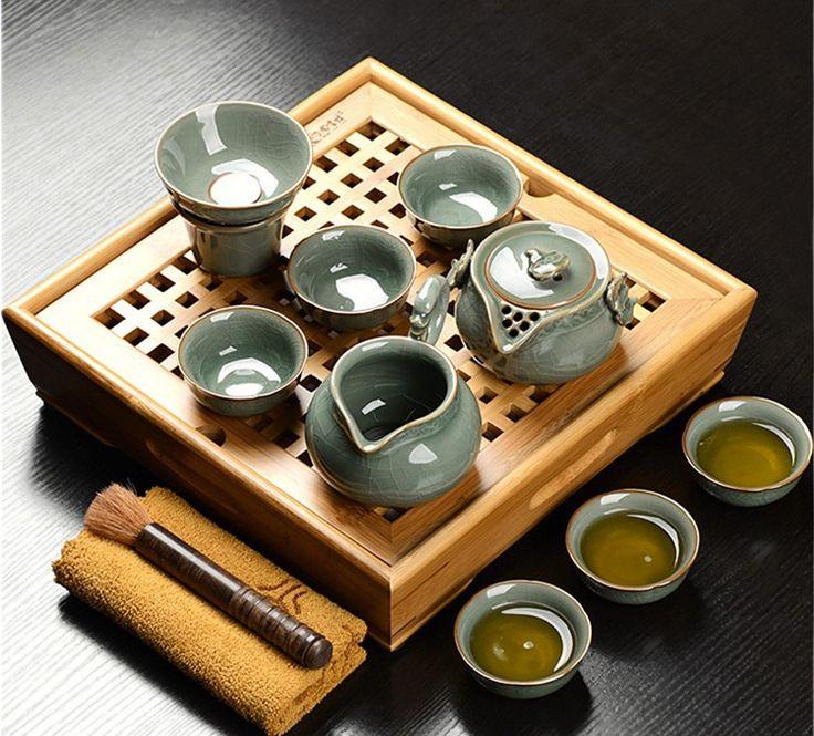 13 pz cinese boutique kung fu tea set porcellana pigmentato teasets di bambù vassoio del tè tè piazza tavolo crackle glaze teiera bicchier in Insieme di tè cinese Si tratta di una combinazione di 13 pz, tra cui un bambù vassoio del tè, una teiera, uda Caffè e tè set su AliExpress.com | Gruppo Alibaba