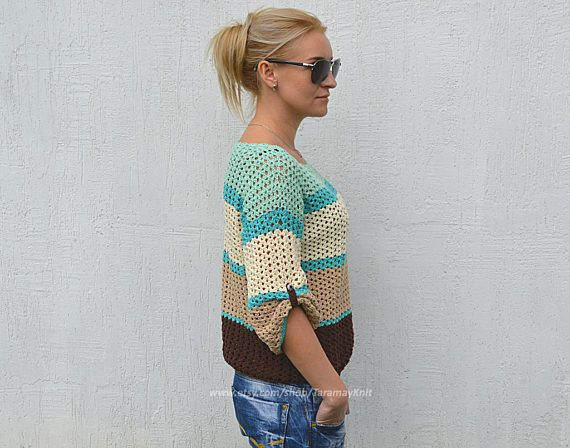 Summer crochet sweater knitted jumper cotton sweater crochet pullover Boho sweater cream pullover knitting womens sweaters mint jumper  >Color: as in the photo: brown+beige+cream+mint or your choice, please, contact with me  >Material: 100% cotton  >Size: one size width ~ 21 inches ( ~ 53 cm ) length ~ 21 inches ( ~ 53 cm ) sleeve ~ 12 inches ( ~ 30 cm )  >Care: gentle care, hand wash in warm water with mild soap, press into dry towel, lie flat to dry.  Custom orders welcome. For ...