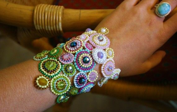 beaded and crochet bracelet