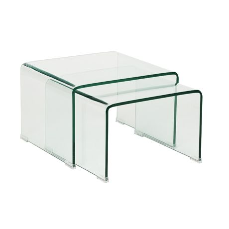 Ghost Nest of 2 Side Table Clear Glass | Freedom Furniture and Homewares