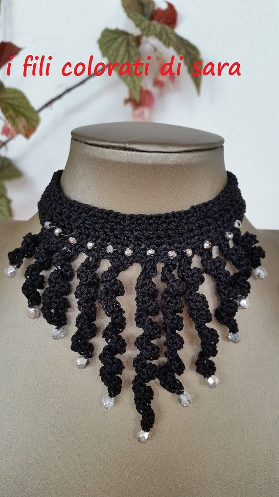 Collar of black cotton worked to crochet with crystals. by ifilicoloratidisara #italiasmartteam #etsy