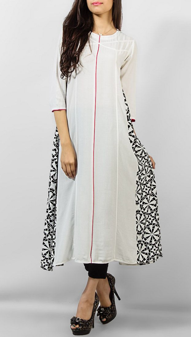 White Ladies Cotton Kurti by PakRobe.com