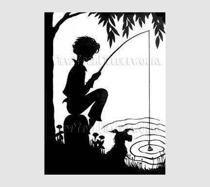 Boy Silhouette Boy Fishing Silhouette by NewYorkNeedleworks, $8.50