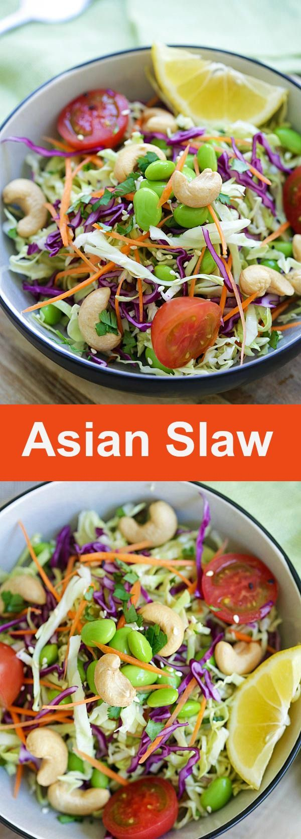 Asian Slaw – delicious Asian slaw recipe with soy sesame dressing. It's easy, low calories and refreshing. Healthy salad for the entire family | rasamalaysia.com
