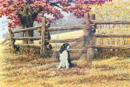 James Lumbers - 'Old Friends' ...In memory of a dog and her former owner who spent many hours hunting together...