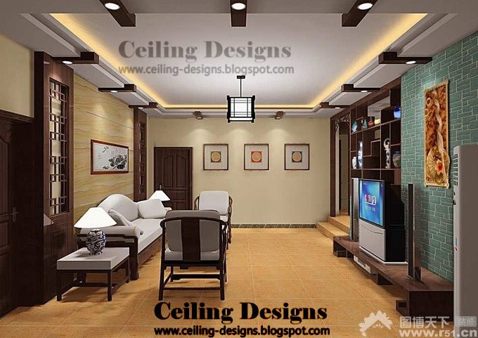unique living room ceilings | modern false ceiling designs for living room from gypsum and wood ...