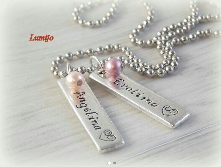 laattakoru omalla tekstillä, necklace with own text pendants