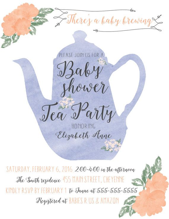 set of 12 tea party theme shower tea pot invitation tea kettle tea