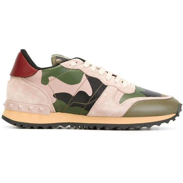 Valentino Garavani 'Rockrunner' sneakers featuring polyvore, women's fashion, shoes, sneakers, camouflage shoes, camouflage sneakers, lacing sneakers, leather sneakers and nude leather shoes