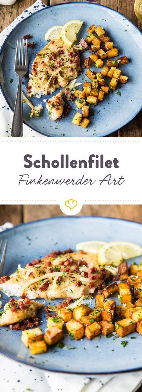 Ein Klassiker der deutschen Fischküche: Knuspriges Schollenfilet mit würzigem Speck, Bratkartoffeln und Dill.