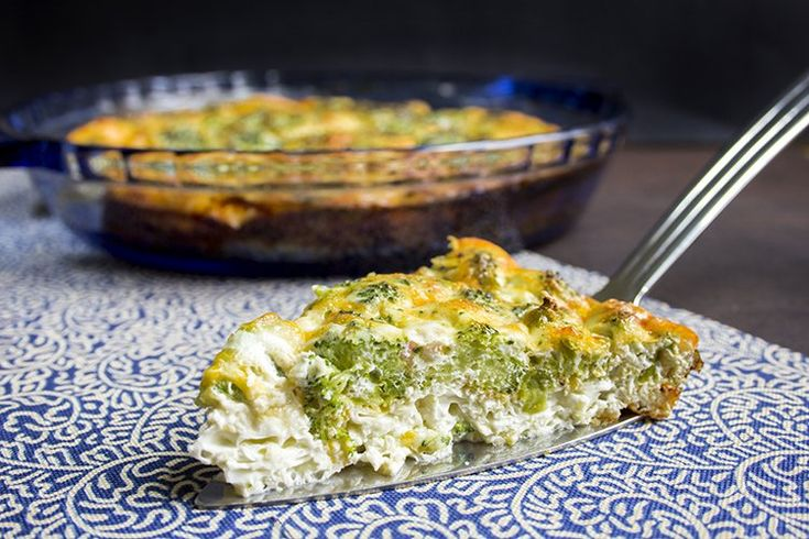 skinny crustless quiche recipe serves 6 view of one serving from the side
