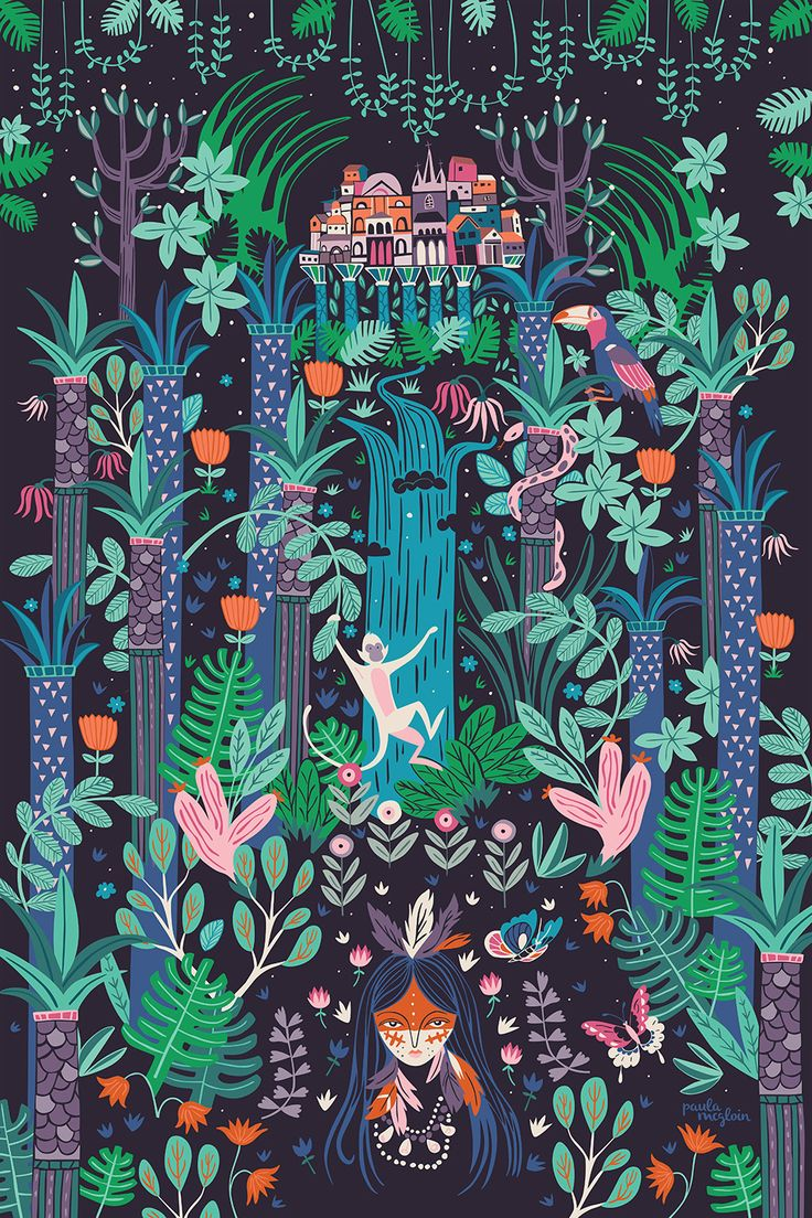 Illustration inspired by the enchanting Brazilian city of Manaus, only reachable by plane or boat, Manaus is located deep in the heart of the Amazon rainforest. Created as part of an exhibition with The Blind Elephant Illustration Collective.