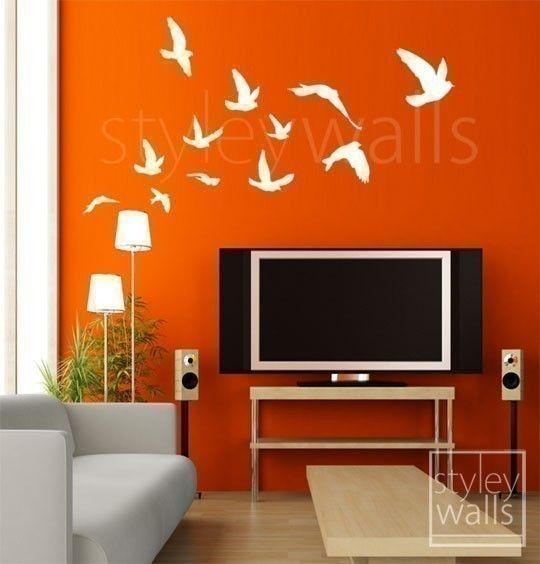 Birds Wall Decal, Flying Birds Set of 12 - Vinyl Wall Decal, Flock of Birds Decal, Office Home Art Decor, Room Decor Wall Decal via Etsy