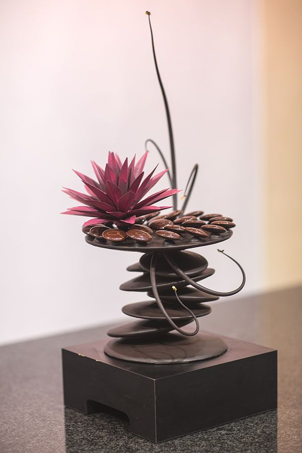 beautiful pink flower on peddles choc showcase