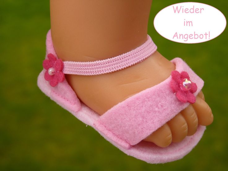 Doll clothes Gr.45-50 cm e.g. for baby Annabell Zapf/Götz Cookie 48 cm doll shoes pink felt sandals beads