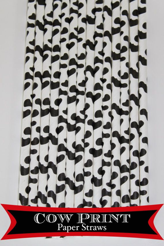 50 Cow Print  PAPER STRAWS birthday party bridal by PartyDelights, $8.00