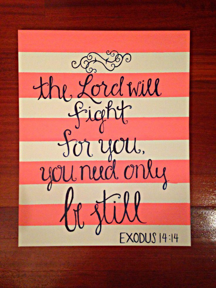 """Exodus 14:14 - 16"""" x 20"""" canvas with acrylic paint"""