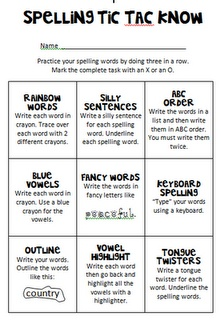 Ideas for spelling word practice