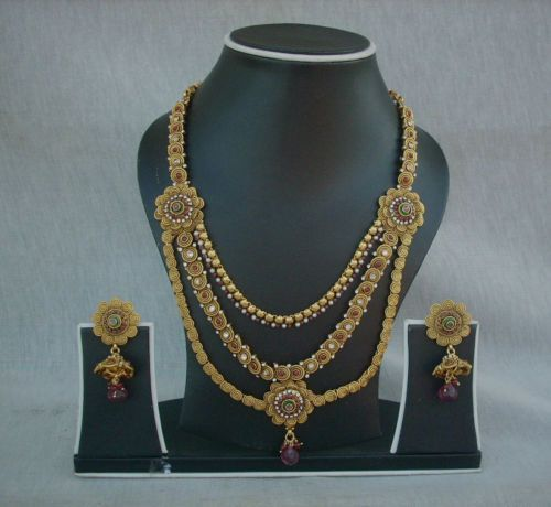 Indian Bridal Wedding Pearl Rani Haar Choker Necklace Sets: Necklace Earrings South Indian Rani Haar Jewelry Pearl