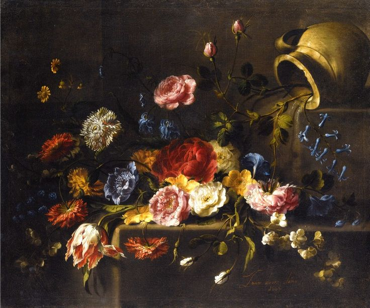 Juan de Arellano (1614-1676) ––  ATulip, Roses, Dahlias, Peonies, Campanula, Orange Blossom And Other Flowers on Some Steps, an Earthenware Pitcher Upper Right,  1665 (1199x1000)