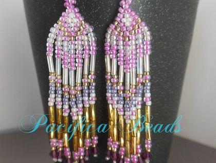Pink beaded earrings- long fringe