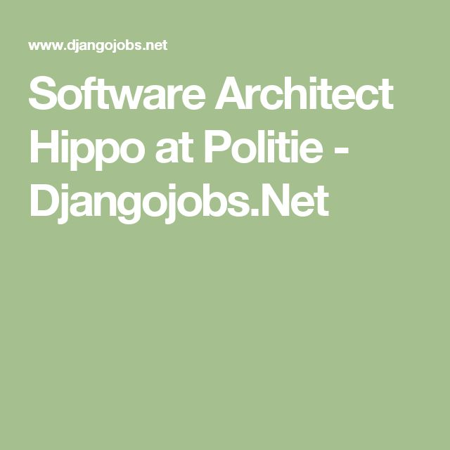 Software Architect Hippo at Politie - Djangojobs.Net