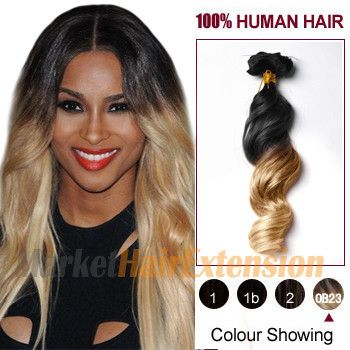 """20"""" Two Colors #1b And #27 Wavy Ombre Indian Remy Clip In Hair Extensions"""