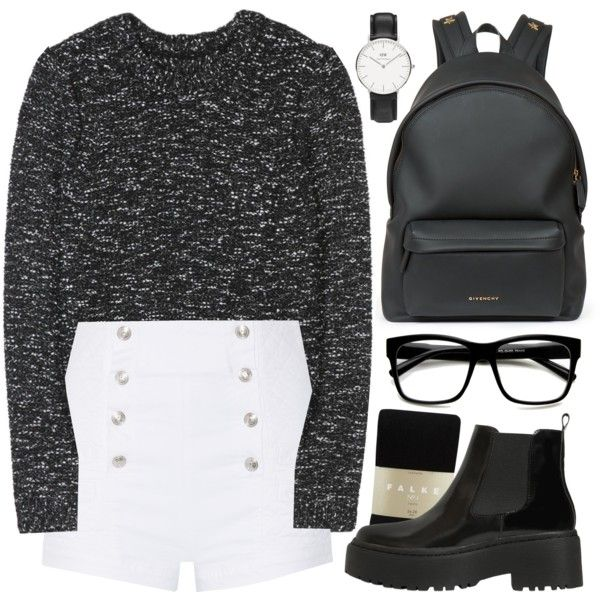 Black shorts, black boots, black tights by alexandra-provenzano on Polyvore featuring polyvore, fashion, style, Alice + Olivia, Pierre Balmain, Falke, Jeffrey Campbell, Givenchy, Daniel Wellington and ZeroUV