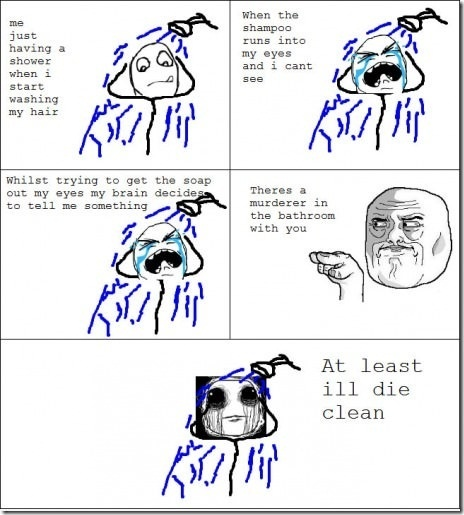 Image title: At Least I'll Die Clean....! - Posted in: Funny, Troll Face Comics Pictures - Tagged: Funny Facts, Boys Fails photos