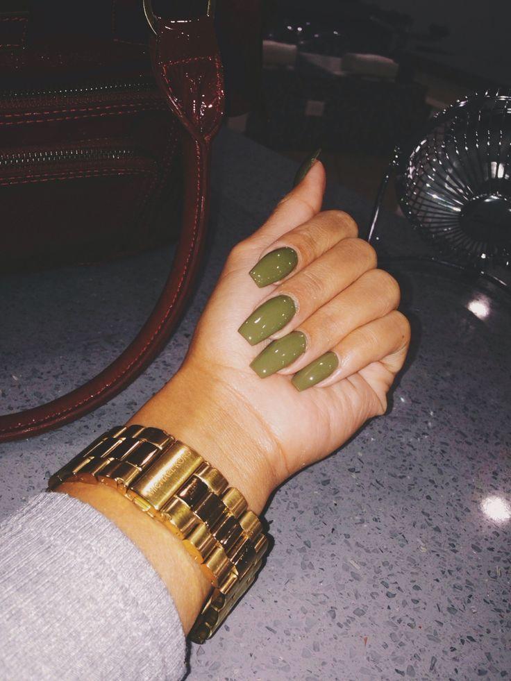 Long square nails tumblr - green nails