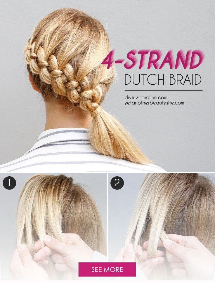 If you've mastered the French, Dutch, and fishtail braids, the four-strand braid should be the next on your list. It may look complicated, but it's not as hard as it appears. Whether you practice on a friend or on yourself, this cool plait is worth the extra effort. - DivineCaroline.com