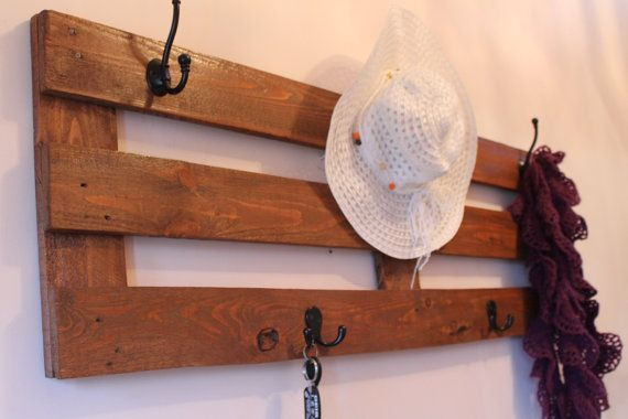 Rustic large coat rack made of recycled pallet wood, black metal hooks, Chestnut stain handmade