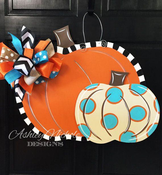 SHIPS NOW Double Pumpkin Door Hanger Door by DesignsAshleyNichole
