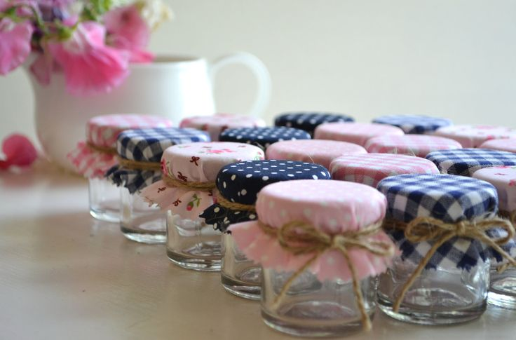 5 Mini Jar favours DIY kit with navy blue & baby pink shabby chic covers. Wedding favors. £5.75, via Etsy.
