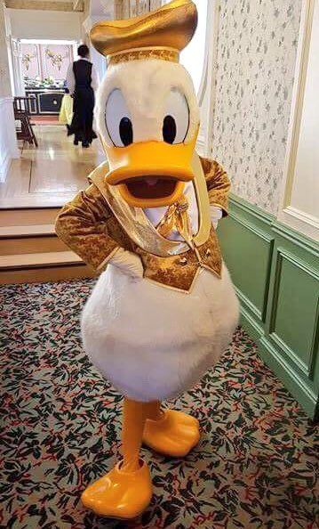 Donald Duck at the Russian New year brunch in the Inventions restaurant in the Disneyland Hotel in Disneyland Paris DLP