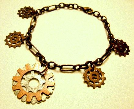 Steampunk Charm Bracelet - Copper starfish and gear charm bracele, via Etsy.