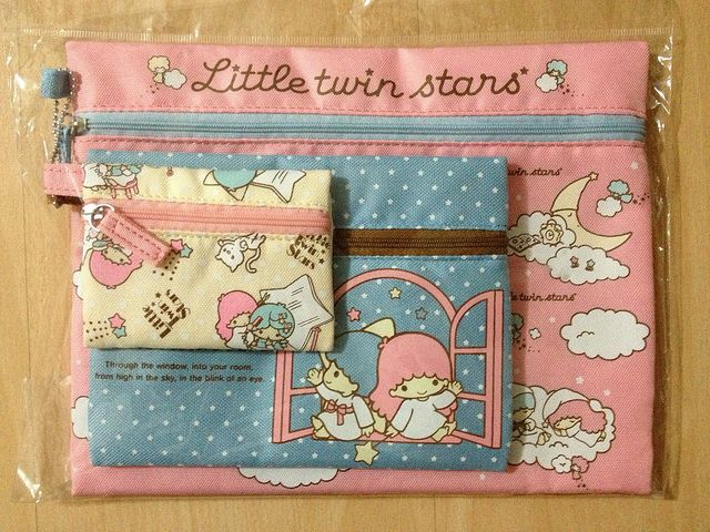 【2013】Pouch with Zippers ~ Set of 3 ★Little Twin Stars★